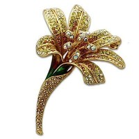 Brooch For Women LO2390 Gold White Metal Brooches with Top Grade Crystal
