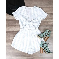 Reverse - Wait For Her Romper in White/Blue Romper