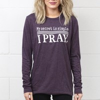 My Secret is Simple: I Pray Tee {Vintage Purple}