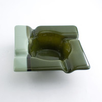 Olive Green Glass Ashtray, Cigar Ash Tray, Smoking Accessories, Square Design, Cigarette Tray, Unique Gifts for Men, Fused Glass