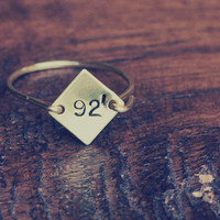 square ring, date ring, stamped ring, handmade ring, brass ring, important date, number, hand stamped, personalized ring, custom ring