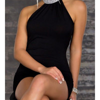 Sexy Little Backless Holiday Mini Dress with Studded Collar - Perfect for Parties
