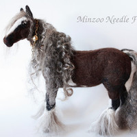 Horse art Vanner needle felting horse figurine OOAK sculpture traditional scale horse felted horse collectable figurine equestrian art