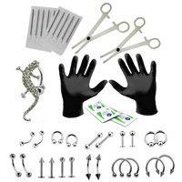 BodyJ4You Body Piercing Kit Professional 16G 14G Belly Button Ring Tragus Earring