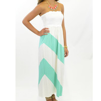 Lighthouse View Lace Front Mint Strapless Maxi Dress