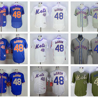 Flexbase 48 Jacob DeGrom Jersey with 2015 World Series Patch Baseball New York Mets Jerseys Cool Base Pullover White Pinstripe Grey Blue