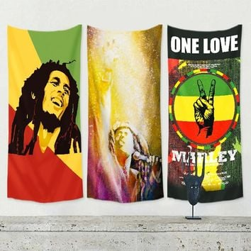 Bob Marley Jamaican Reggae rock music flag banner retro poster tapestry wall hanging painting Bar cafe concert home decor C