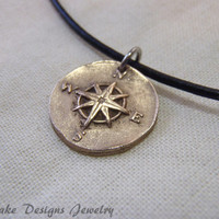 wax seal jewelry bronze golden compass necklace