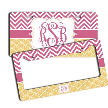 CHEVRON WITH SHELL PATTERN - MONOGRAMMED LICENSE PLATE