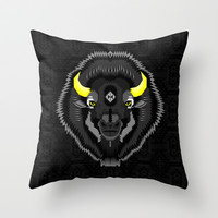 Geometric Bison Throw Pillow by chobopop