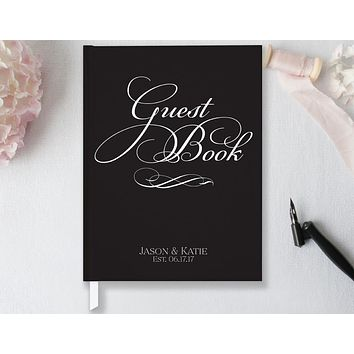Wedding Guest Book, Hardcover, Classic Black & White, Choice of Sizes and Colors