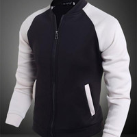 Black& White Zipper Pocket Jacket