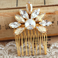Crystal Hair Comb, Bridal Hair Comb, Swarovski Crystal Hair Comb,Crystal hair accessories,Champagne Crystal hair comb, 18 k Gold Head Piece