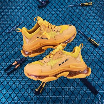 Balenciaga Triple S Clear Sole Trainers Yellow Sneakers - Best Online Sale