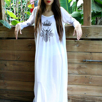Queen Bee Silky White Nylon Nightgown Holiday Gift Bridal Shower Honeymoon Lingerie Sleepwear Fast Ship