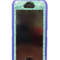 iPhone 5/5s Otterbox Case Glitter Cute Sparkly Bling Defender Series Custom Case Purple/ Blue topaz