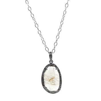 One-of-a-Kind Champagne Diamond and Rutilated Quartz Necklace