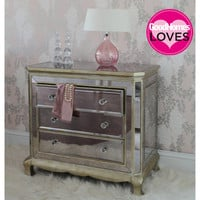 Venetian Distressed 3-Drawer Mirrored Chest of Drawers