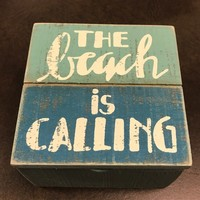 "The Beach Is Calling 4"" Wood Box - Coastal Gifts & Decor"