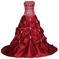 Faironly Red Strapless Bridal Wedding Dress