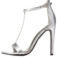 Silver Textured Metallic T-Strap High Heels by Charlotte Russe