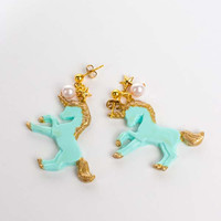 Golden Unicorn Earrings in Mint