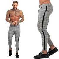Mens Chinos Slim Fit Skinny Pants For Men Chino Trousers Plaid Design Fashion Grey With Stripe at Side 28-36
