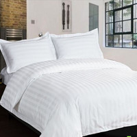 White Streak Hotel home textile bedding sets queen king 4pcs Solid Color comforter/duvet cover bed sheet cotton for Guest Room
