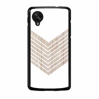 White Geometric Minimalist With Wood Grain Nexus 5 Case