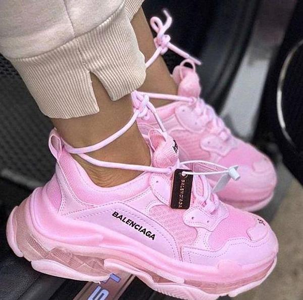 Image of Hipgirls Balenciaga Shoes High Quality Fashion Women Men Letters Contrast Crystal clear shoes Triple sole Shoes Pink