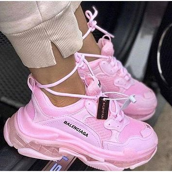 Hipgirls Balenciaga Shoes High Quality Fashion Women Men Letters Contrast Crystal clear shoes Triple sole Shoes Pink