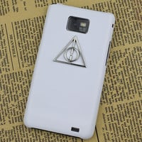 White Hard Case Cover With Deathly Hallows Harry Potter For Samsung Galaxy S2 i9100,Samsung Galaxy S 2 II i9100