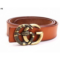 GUCCI Tide brand retro simple men and women models double G snake belt #4