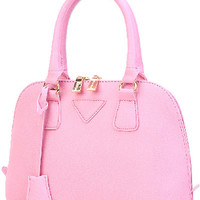 Pink Gold-Toned Hardware PU Handbag