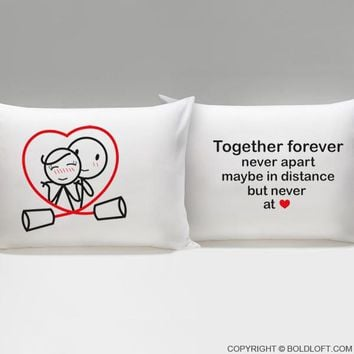 Together Forever™ Couple Pillowcases-Couples Gift,Boyfriend Gift,Gifts for Girlfriend,Christmas,Anniversary,Valentines Day,Wedding Anniversary,Gift for Him,Gift for Her