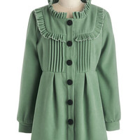 ModCloth Vintage Inspired, French Long Long Sleeve Filled with Glee Coat in Seafoam
