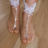 free ship ---- bridal anklet, white lace sandals, Beach wedding barefoot sandals, bangle, wedding anklet, anklet, bridal, bellydance, gothic