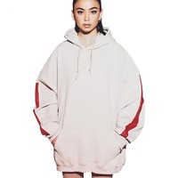 Oversize Hoodies with Red Side Stripe Women Long Section Warm Pullover Tops