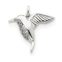 Hummingbird Charm in Sterling Silver w/Stellux Crystal