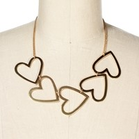 Gold Heart Statement Necklace