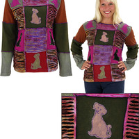 Patchwork Dog Long Sleeve Top