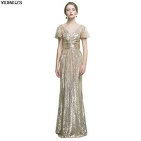 YIDINGZS Luxury Black Champagne Sequin Long Evening Dress V Neck Evening Gowns Prom Party Formal Dresses