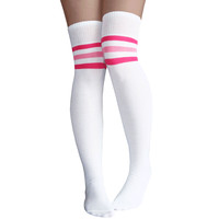 White/Pink Thigh Highs
