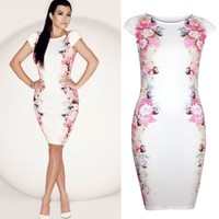 Forever Womens Celeb Kourtney Kardashian Side Floral Bodycon Midi Dress