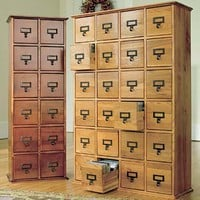 Retro-Style Wooden Multimedia Library File Cabinets - Plow & Hearth