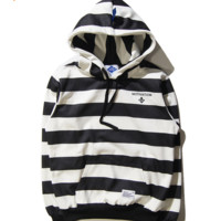 MDNS street tide brand hip-hop personality hoodie striped autumn and winter plus velvet cotton sweater coat male