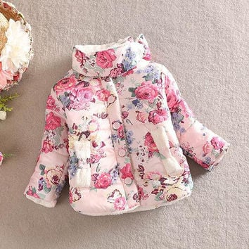 Baby Girls Cotton Floral Coat Long Sleeve Jacket Thick Warm Outerwear SM6