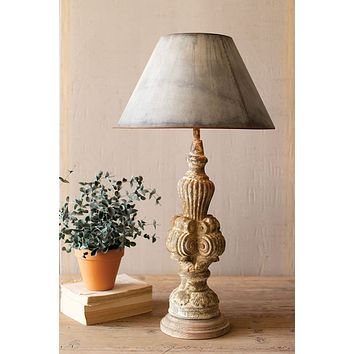 Table Lamp With Sculpted Base & Galvanized Shade
