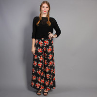 70s PALAZZO PANTS / High Waist Red Floral Trousers, xs