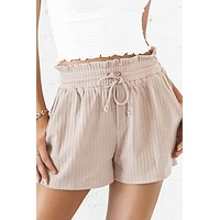 Never Too Late Taupe Lounge Shorts